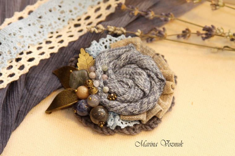 Текстильная брошь своими руками