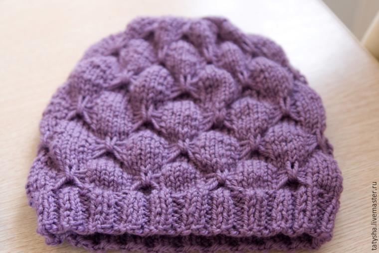 Вяжем шапку с узором «бабочки», фото № 17
