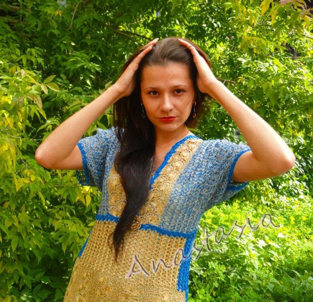платья крючком, золотой