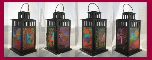 фонарь, роспись, роспись по стеклу, освещение, обжиг, сад, интерьер, праздник, витражная роспись