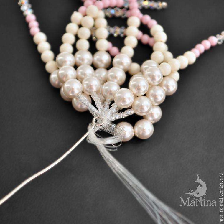 Jellyfish Pendant DIY with Pearls and Swarovski Crystals, фото № 35
