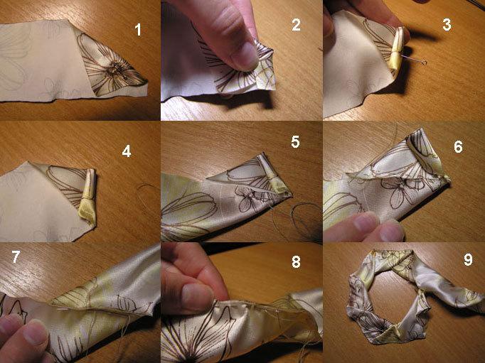 цветы из ткани, авторские украшения, украшения ручной работы