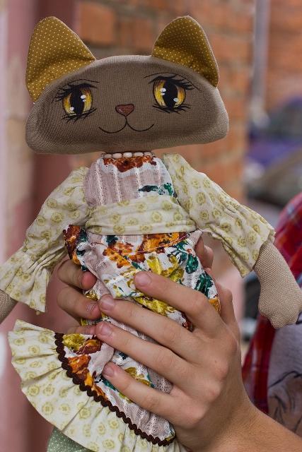 Мастер-класс   Текстильная кошка с расписными глазами., фото № 3