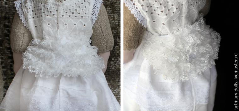 Для объема внутрь добавлена тонкая белая шерсть. Турнюр щедро украшен  кружевом f5d879cae6452