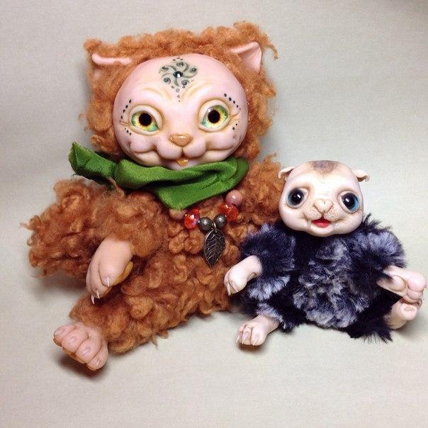 игрушки, чудики, ручная работа, куклы чудики, зверята, пушистики, кот, рыжий, рыжий кот, львенок, игрушки из пластики, мягкие игрушки