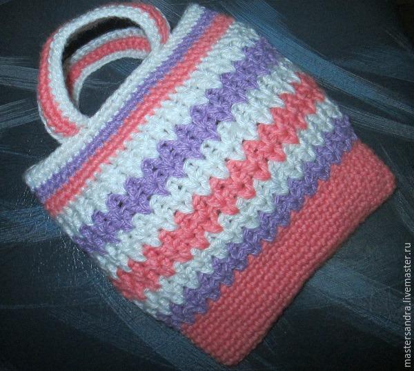 81347fb10877 мастерсандра, вязаная сумка, сумочка для девочки, детские аксессуары, вяжем  сумку