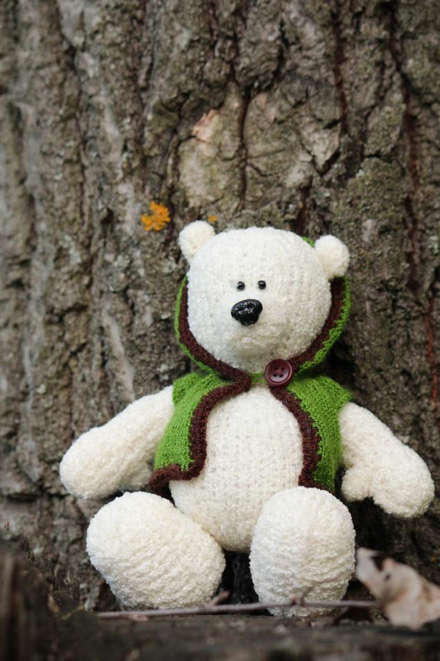 умка, медвежонок, медведь, вязаная игрушка, вязаный мишка, белый медведь, белый, кофта с капюшоном, кофта вязаная, мультфильм, герой мультфильма