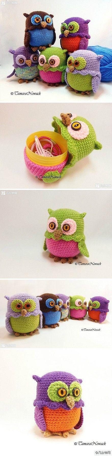 owl crochet handmade diy storage box