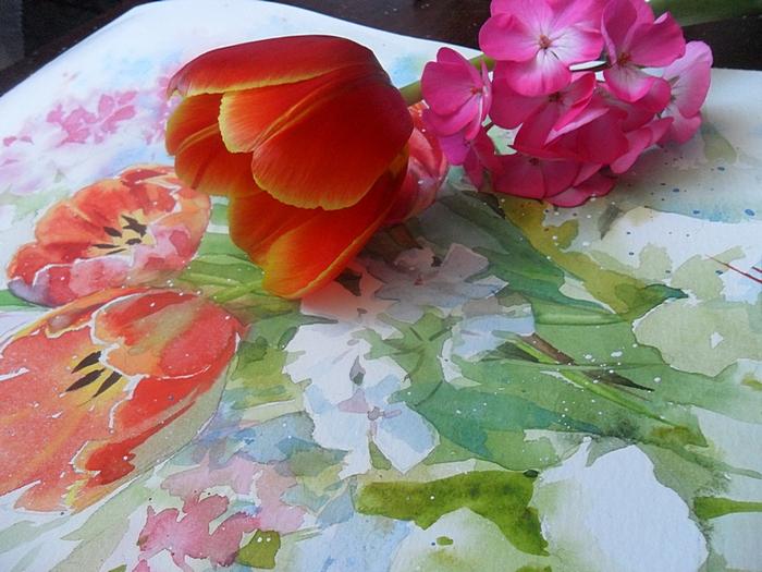 мк, мастер-класс, акварель, цветы акварелью