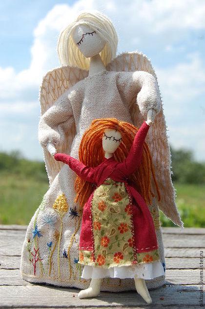 детство, подарок, украшение интерьера, ангел, крылья, белый, красный, рыжый, текстильная кукла, скидка