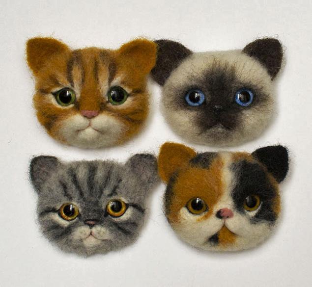 мастер-класс по валянию, научиться валять, кот, котёнок, брошь, кото-брошь, кот-брошь, игрушка кот