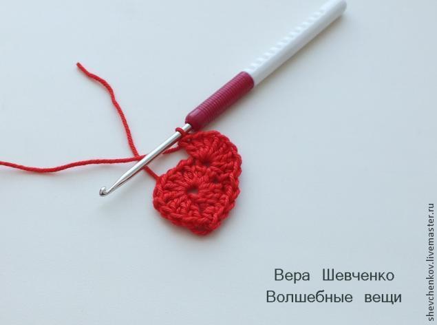 МК Вяжем сердечко - брелок (много фото), фото № 9