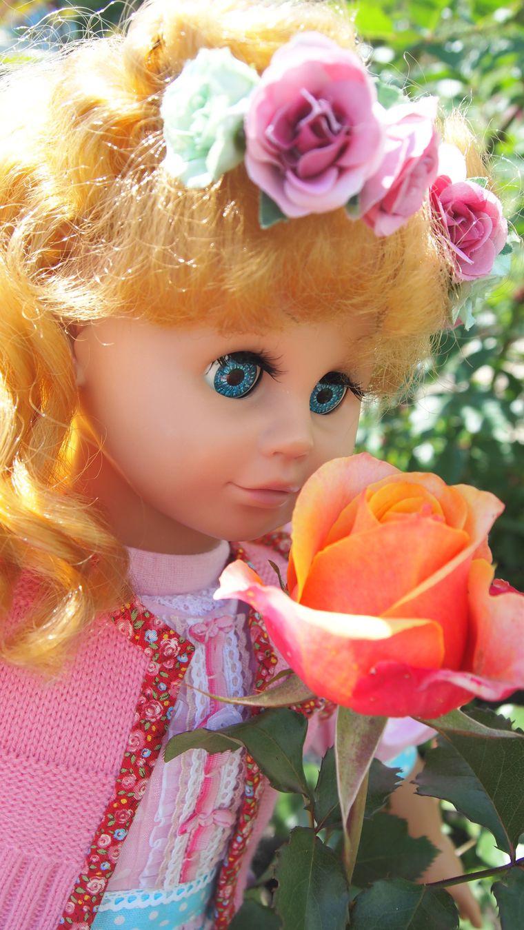 кукла с рыжими волосами, тряпичная кукла