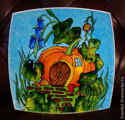 роспись акрилом, акриловые краски, роспись, тарелка керамическая