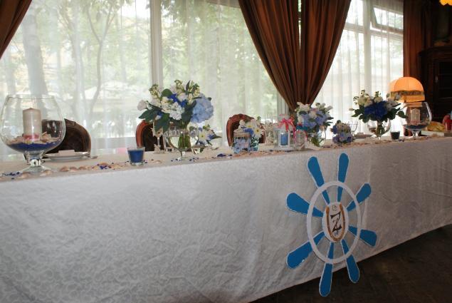 свадьба в морском стиле, морская композиция