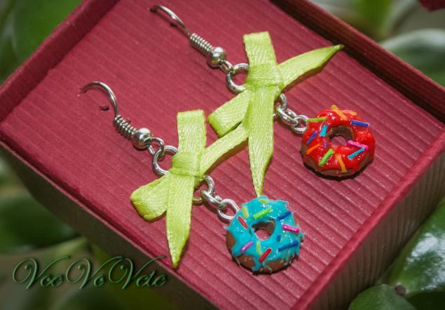 сережки длинные, авторские украшения, интересные украшения, атласные бантики, для любимой
