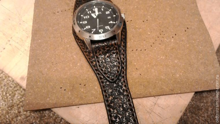 Широкий ремешок на часы своими руками