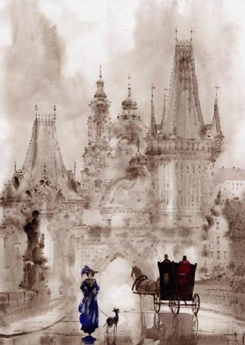 俄羅斯 Гаджиевы Сабир и Светлана 的《墨色歐洲》水彩系列。。。 - ☆平平.淡淡.也是真☆  - ☆☆milk 平平。淡淡。也是真 ☆☆