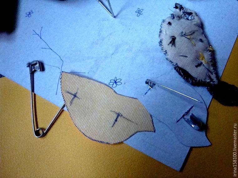 Вышиваем с бисером брошь «Воробушек», фото № 12
