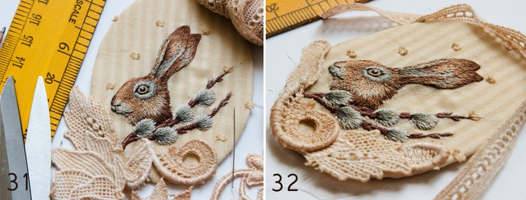 Вышитая брошка с пасхальным зайкой и веточкой вербы, фото № 16