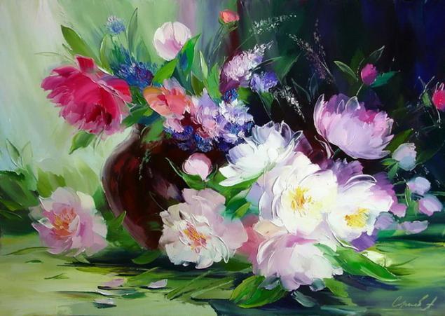 натали котова, цветы, мастер-класс, живопись, на одном дыхании, мастехин, масло, масляная живопись, живопись маслом, пионы