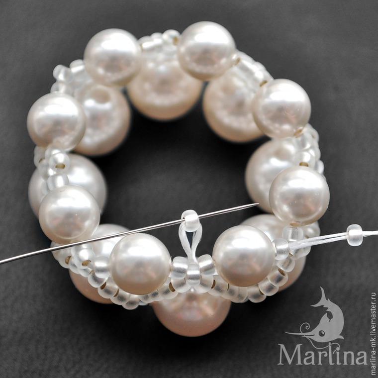 Jellyfish Pendant DIY with Pearls and Swarovski Crystals, фото № 7