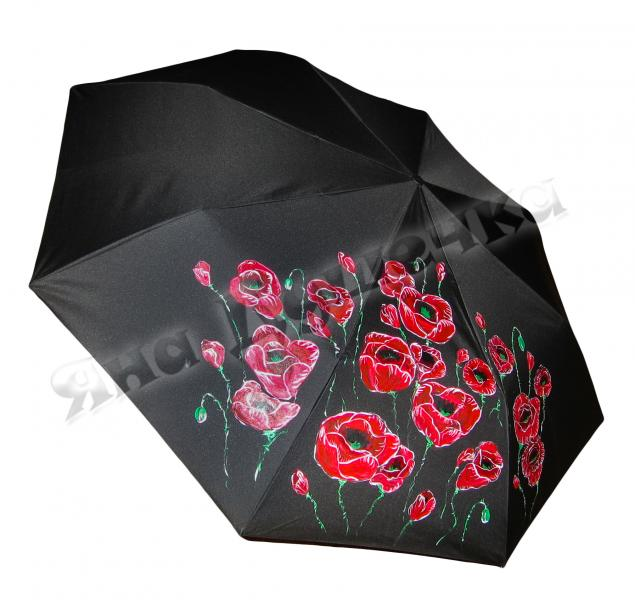 зонтик, цветок, зонт трость, недорогой зонт, роспись по ткани
