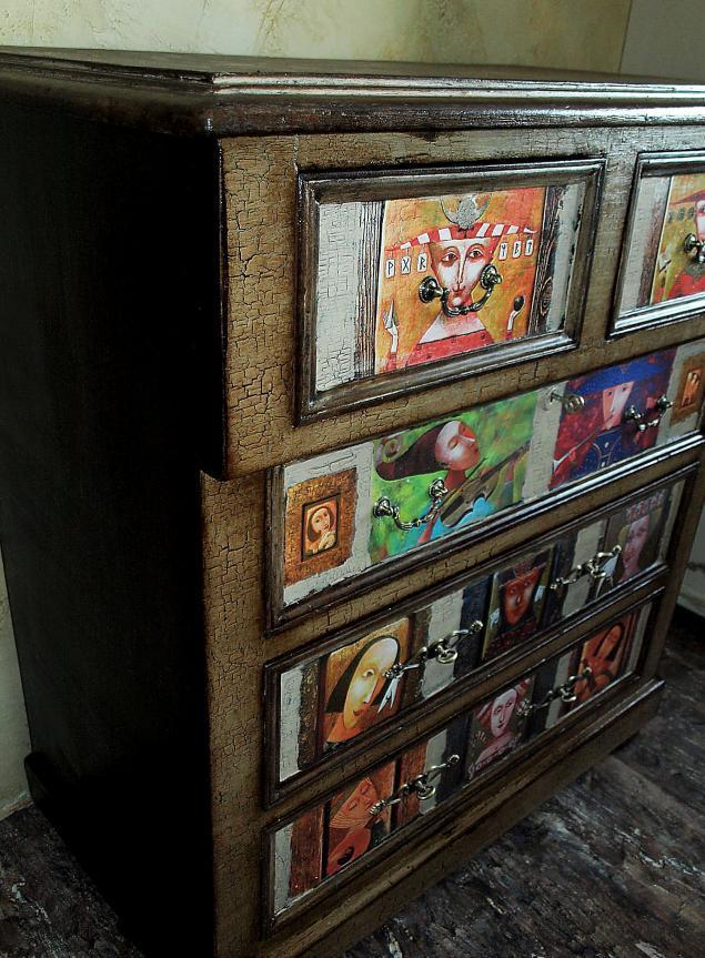 комод, декупаж, декор мебели, реставрация, дубовый комод