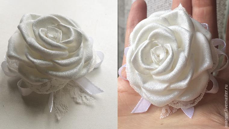 Создаем заколки с кружевом и золотыми розами из фоамирана, фото № 27