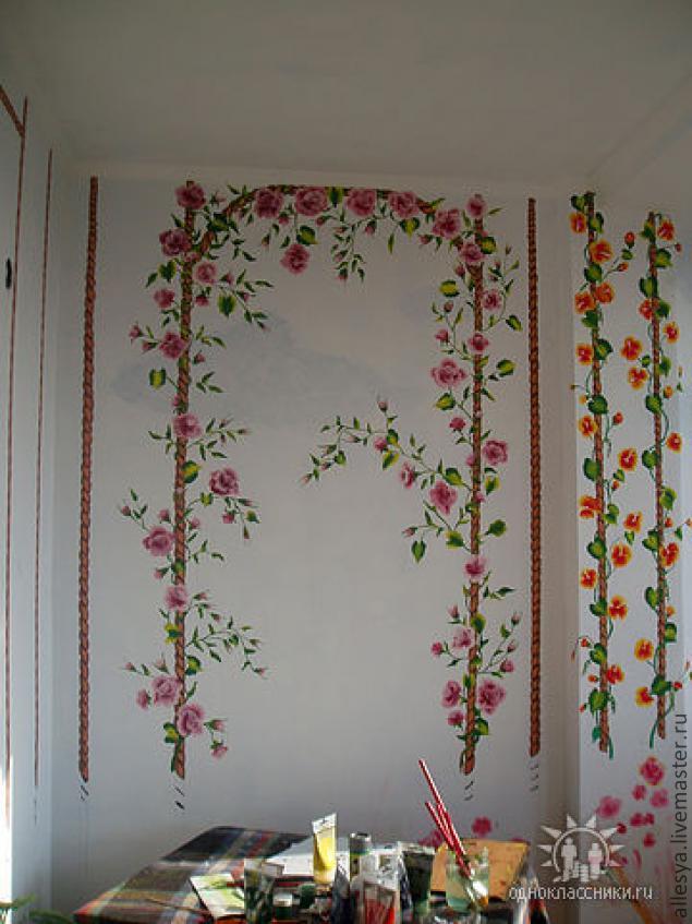 Роспись стен на балконе своими руками.