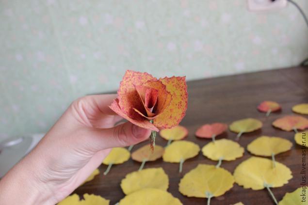 Как сделать из листьев розу своими
