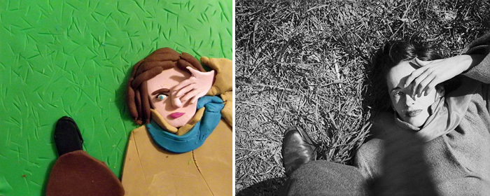 Sunday Morning, c 1947 by Saul Leiter. Play-doh by Eleanor Macnair