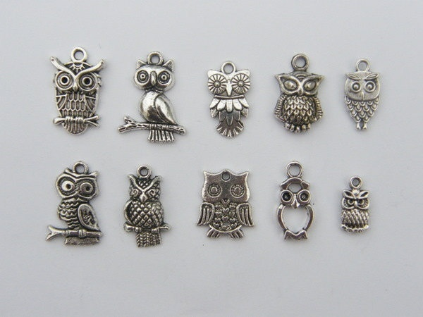 The Ultimate Owl Charms Collection -  10 different antique silver tone owl pendants or charms. $3.50, via Etsy.