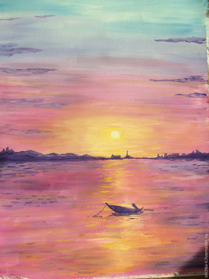 How to Paint a Sea Sunset with Gouache, фото № 7
