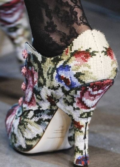 Cross stitch shoes by Dolce & Gabbana