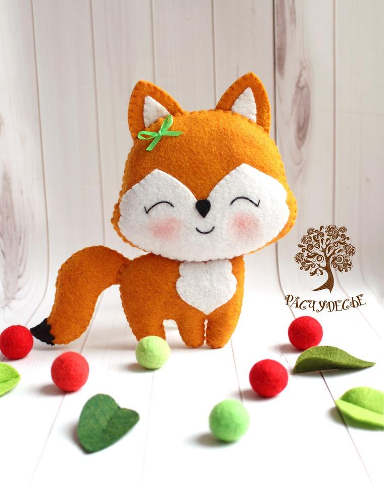 игрушки из фетра, детские игрушки, лиса, житель леса, оранжевый
