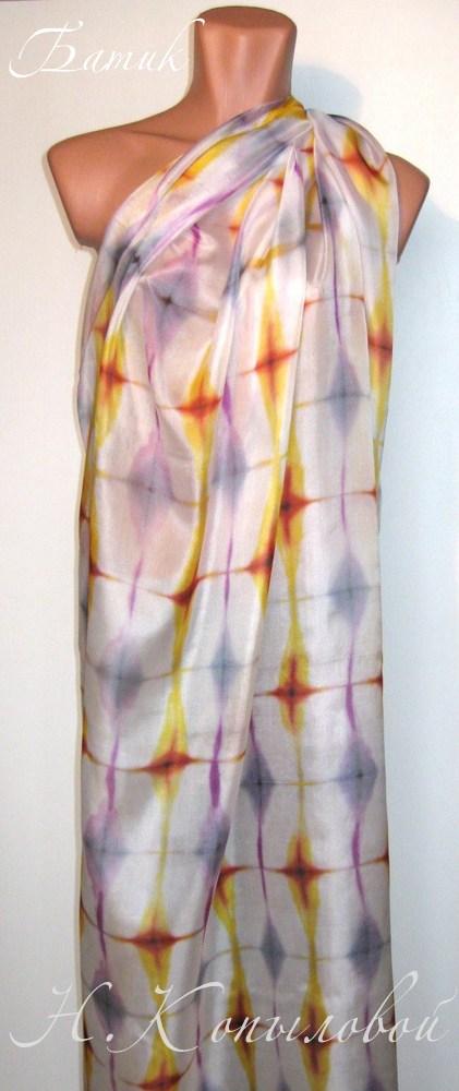 для летнего платья, роспись на шёлке