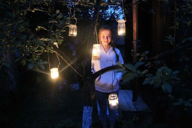 самодельный светильник, романтика на даче