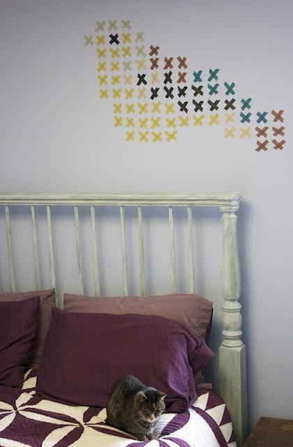 washi cross-stitch wall art