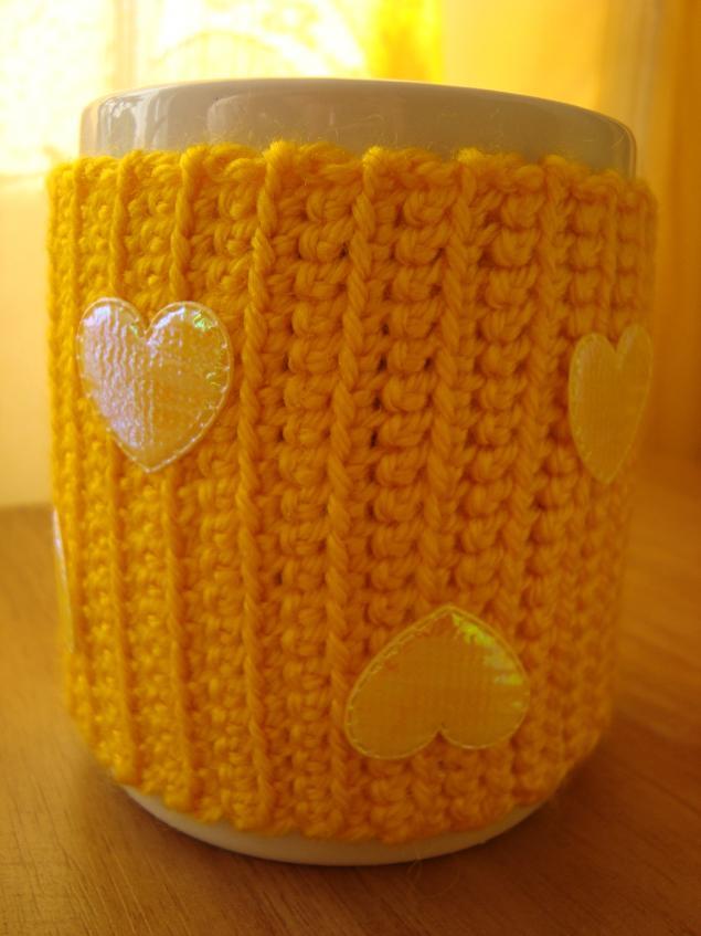 одежка для чашки, лимонный чехол