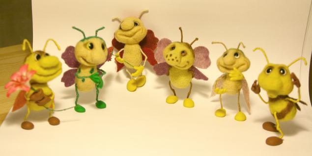 мастер-класс по валянию, насекомые из шерсти