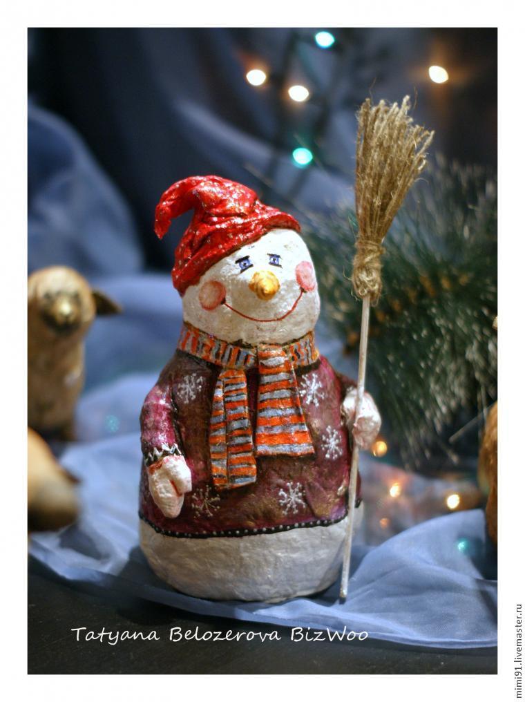 Снеговик из ватного папье маше. МК Татьяны Белозеровой