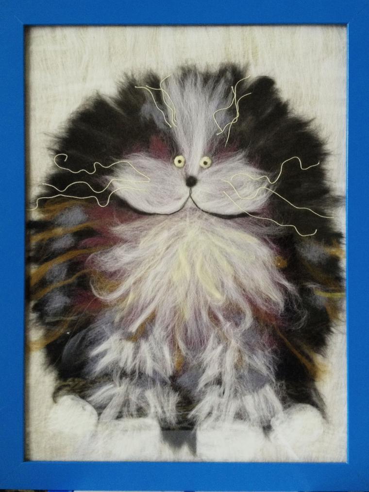 картины из шерсти котики фото уже