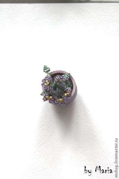 Маленькие фиалки из бисера - Ярмарка Мастеров - ручная работа, handmade