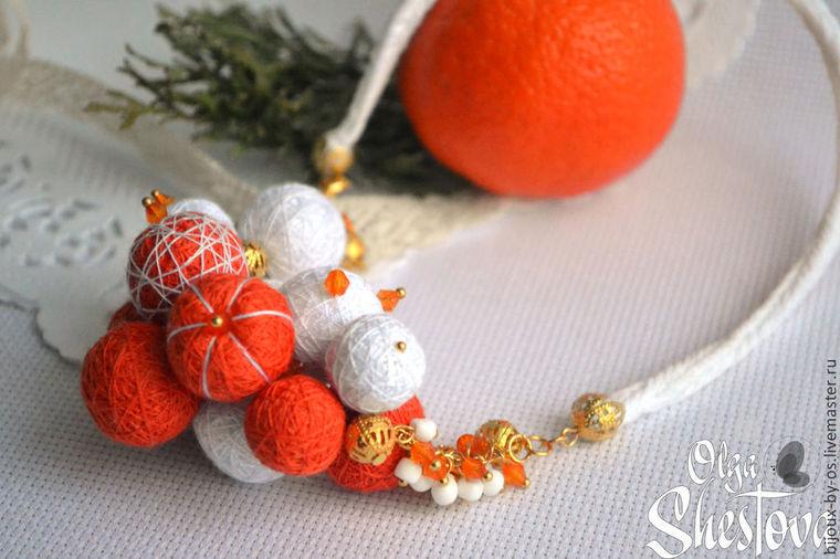 мандарины, украшения из ниток