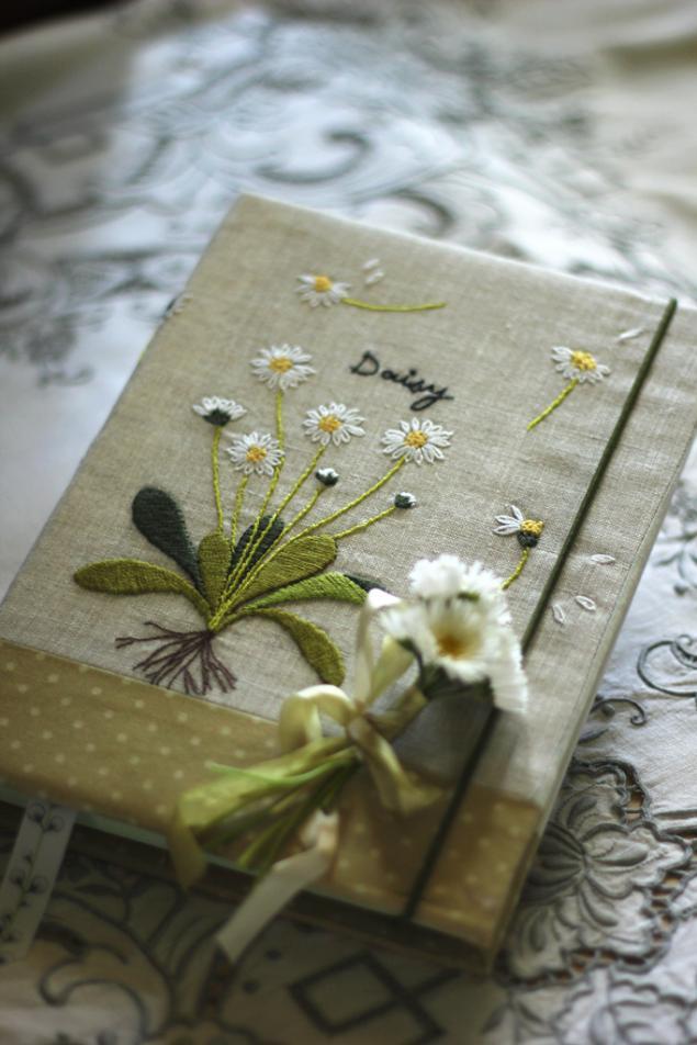 блокнот ручной работы, белые цветы, блокнот для женщины