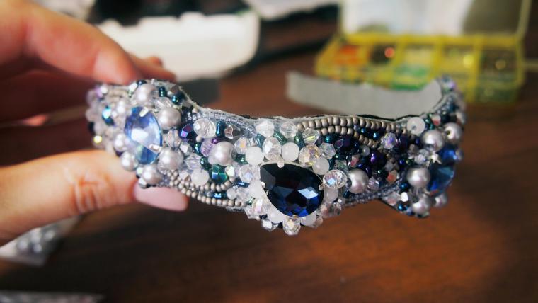 ободок, обруч, ободок для волос, синий, снегурочка, голубой, кристаллы, серебристый, серый, украшения ручной работы