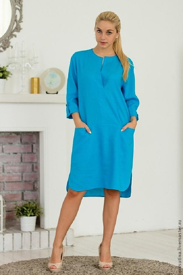 Модные фасоны платьев из льна