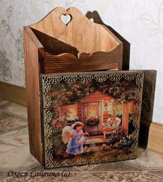 пример работы, деревянная ключница, трансферные картинки, личная запись
