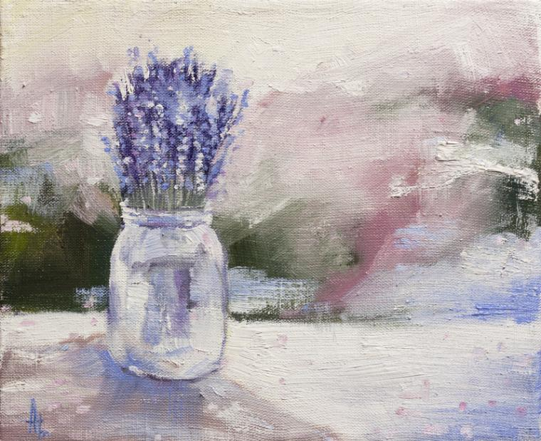 новая картина, масло, холст, лаванда, цветы, натюрморт